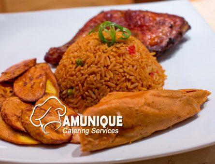 Nigeria Jollof Rice with Plantian and Moi moi